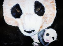 Daddy and Baby Panda Bear Acrylic Painting on Canvas