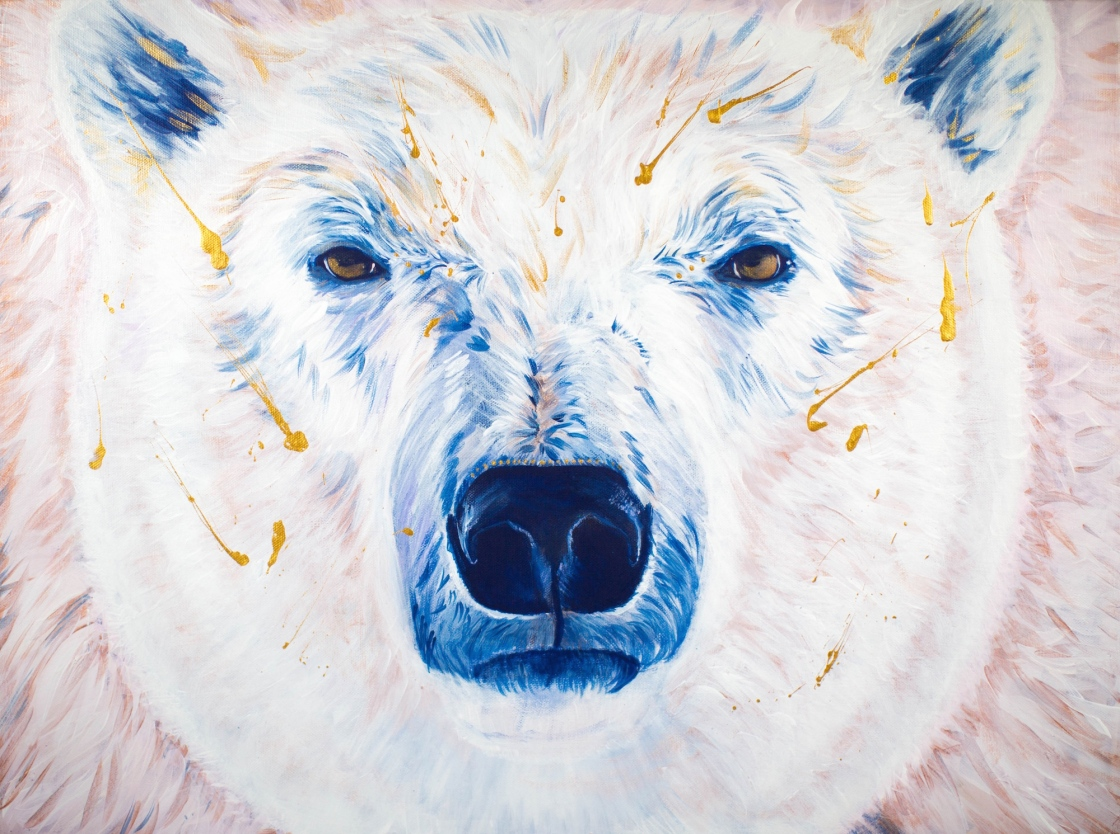 Blue, Cream and Gold Polar Bear Acrylic Painting on Canvas