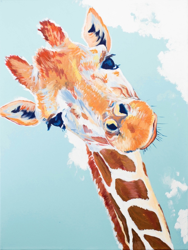 Curious Giraffe Colorful Acrylic Painting on Canvas