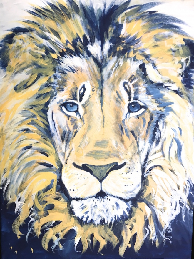 Blue and Yellow Lion Acrylic Painting on Canvas