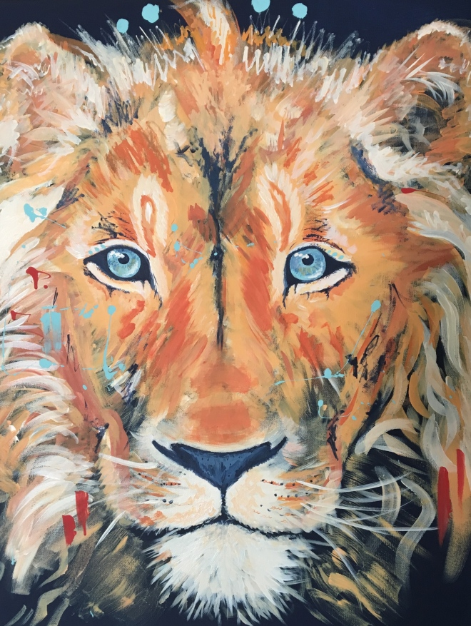 Boldly Colored Lion Acrylic Painting on Canvas