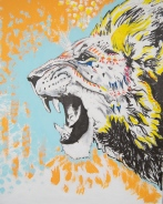 Roaring Lion Mixed Media Art